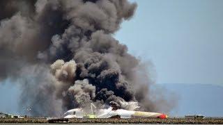 Очевидец снял крушение самолета в Сан Франциско SFO (6 Июля 2013)