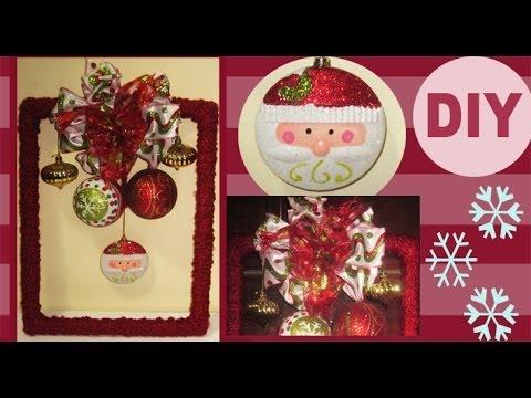 DIY: Decoración para Puerta Navideña Usando un Marco =) Christmas Decoration to the Door