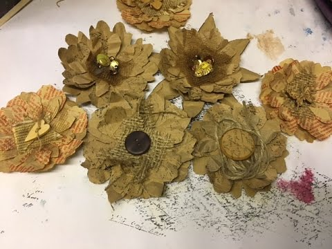 Upcycled Brown Paper Bag Flowers Youtube