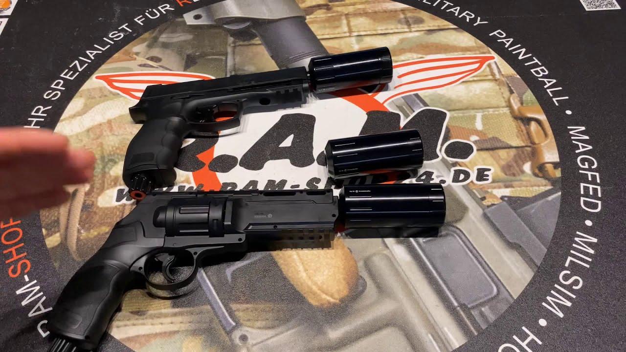 F-Schalldämpfer für den HDR50 Revolver und die HDP50 Pistole im Kaliber 0.50 von Umarex