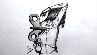 رسم سهل بالرصاص .. سلسلة الرسوم التعبيرية #37 easy pencil drawing .. Expressive drawings Series