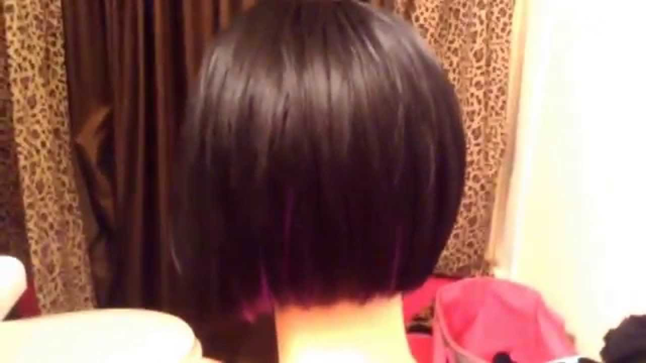 Bob Haircut Wig Wpurple Highlights Youtube