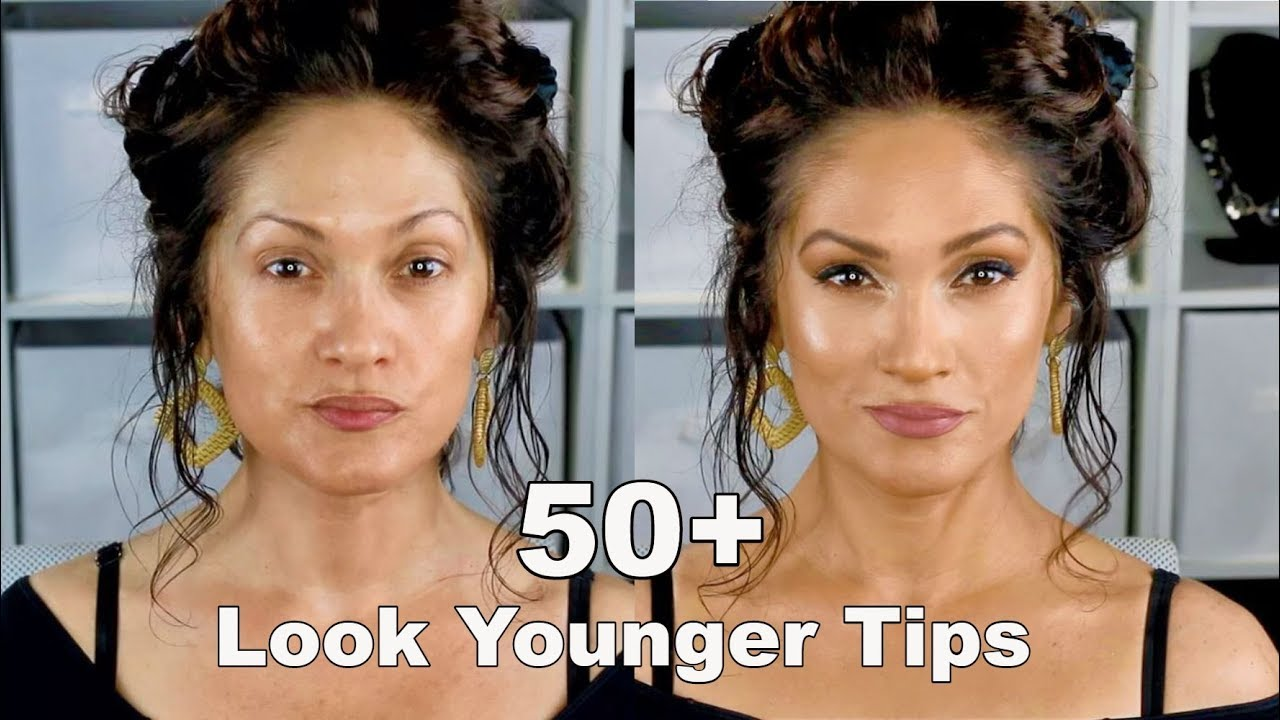 LOOK YOUNGER WITH MAKEUP TIPS  Full Face Routine 8+