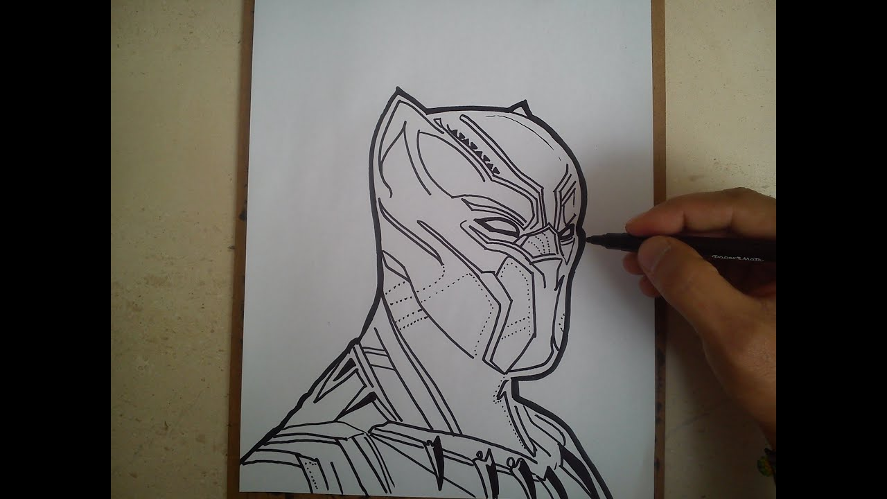 Como Dibujar A Pantera Negra How To Draw A Black Panther Youtube