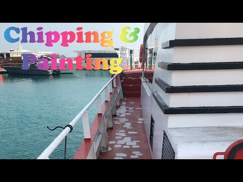 CHIPPING AND PAINTING ON SHIPS-HOW ITS DONE LIFE AT SEA ON SUPPLY VESSEL