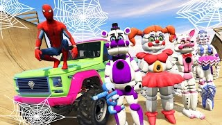 animatronics spider man homecoming stunt on world s biggest ramps gta 5 mods fnaf funny moments
