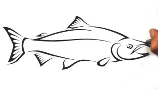 How to Draw a Salmon Fish - Tribal Tattoo Design Style