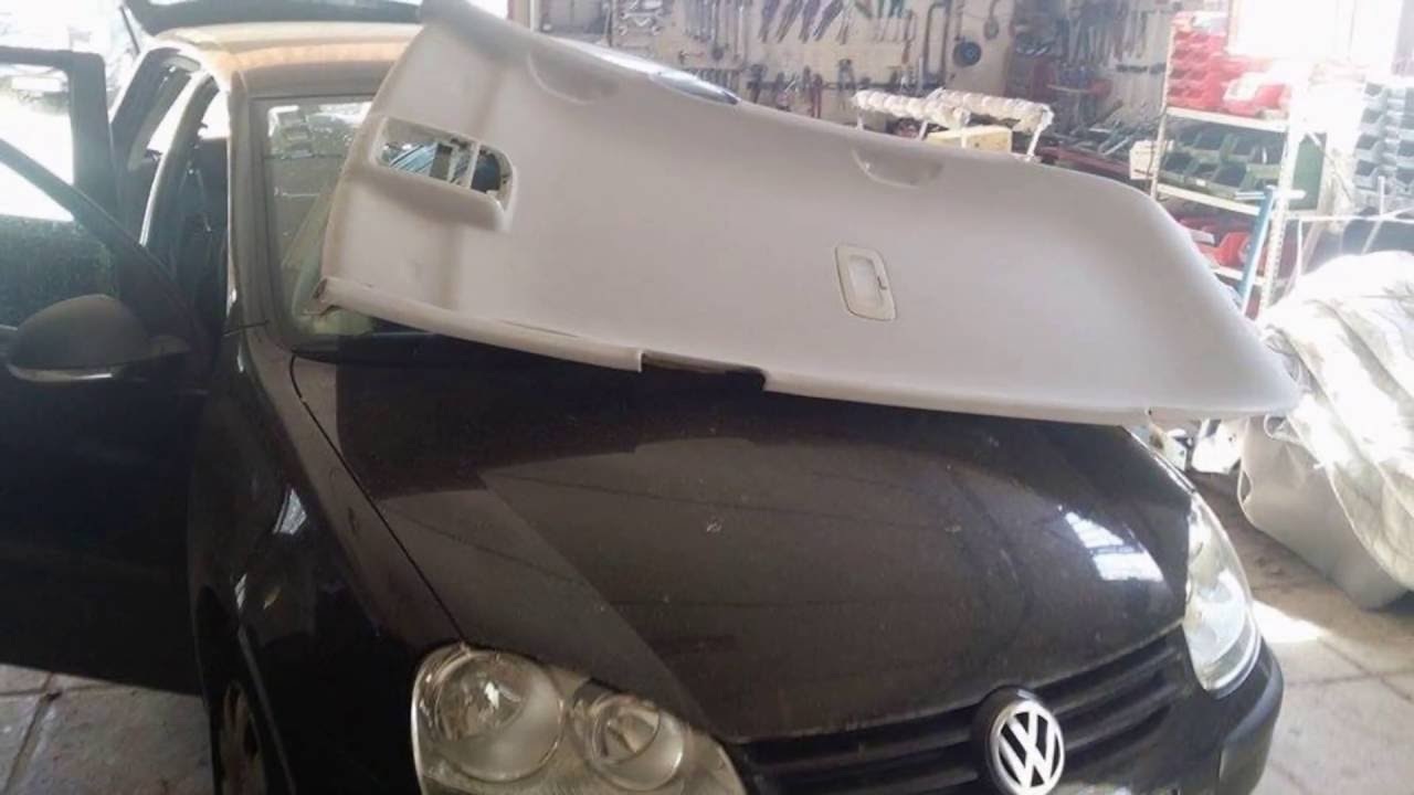 VW Golf Mk5 04 09 Αλλαγη υφασματος ουρανου Repair Car Headliner