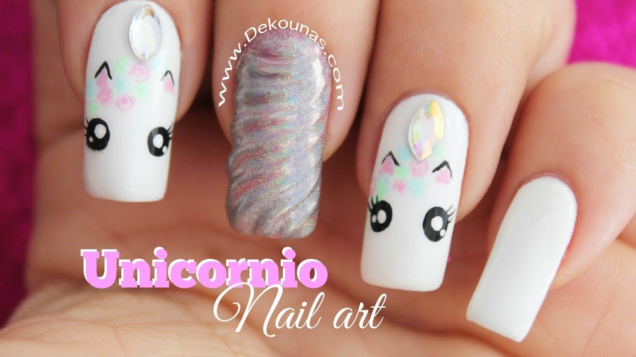 Decoración de uñas Unicornio - Unicorn nail art - YouTube