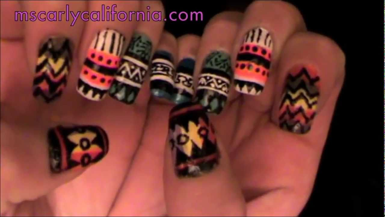 Native American/ Tribal Inspried Nails Part 1 - YouTube