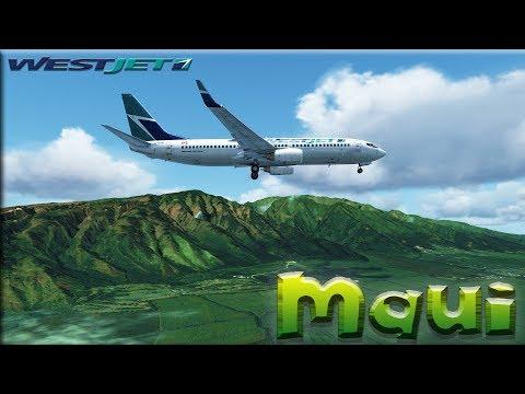 FSX [HD] - Westjet | Boeing 737-800 | Approach to Maui