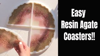 Set of 4 Agate Resin Coasters // So Sparkly // A quick video