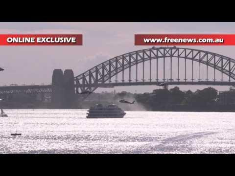 Blackhawk helicopters conduct training exercise over Sydney