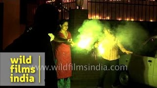 Children burst crackers on occasion of Diwali - India
