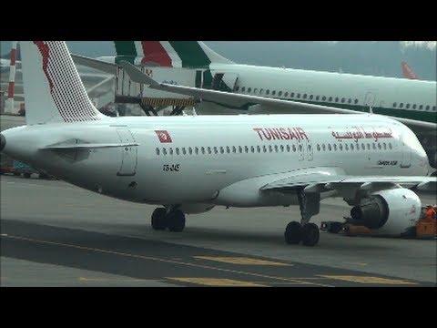 Airbus A320 Tunisair. Flight TU757 to Tunis. Pushback and Taxi at Milan Malpensa.