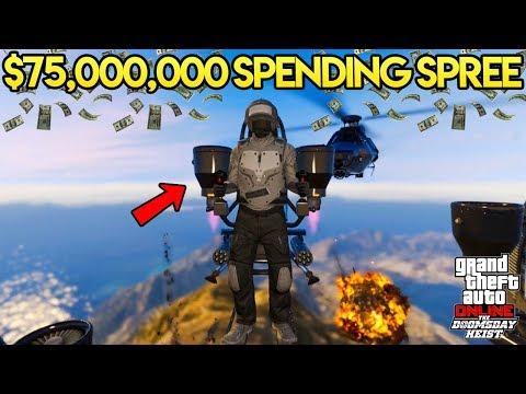 GTA Online: The Doomsday Heist - $75,000,000 SPENDING SPREE! BUYING JETPACK, DELUXO & MORE