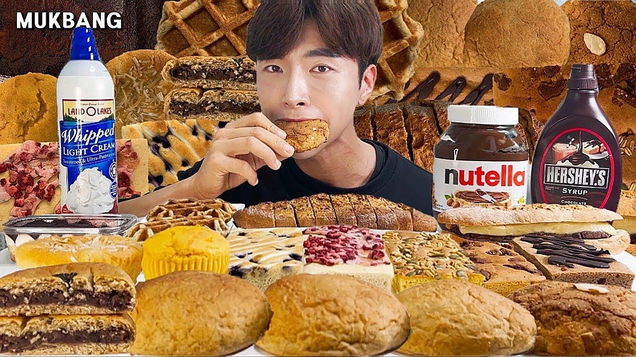 빵 디저트 생크림 누텔라 다이어트 프로틴 간식 먹방 ASMR MUKBANG Dessert Bread Whipping cream Nutella Eating Sound