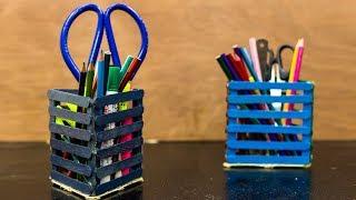 Diy Popsicle Stick Pencil Holder / Pen Stand