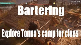 Assassin's Creed Valhalla Bartering - Explore Tonna's Camp For Clues
