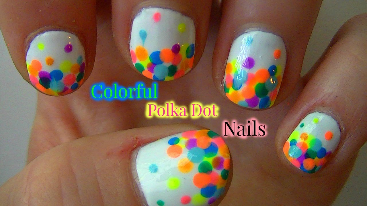 colorful polka dot nails summer