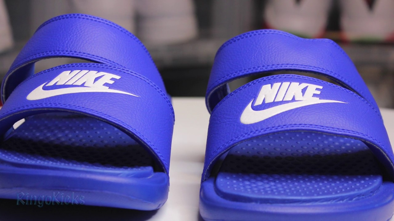 37fd138df NIKE BENASSI DUO ULTRA Royal Blue (Women) review and on feet - YouTube