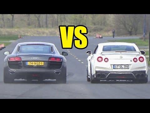 NISSAN GTR R35 vs AUDI R8 V10  馃敟DRAG RACE馃敟