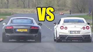 NISSAN GTR R35 vs AUDI R8 V10  🔥DRAG RACE🔥