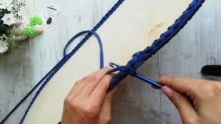Узор галочка. Люлька Для младенцев крючком из трикотажной пряжи. 2 этап вязания.