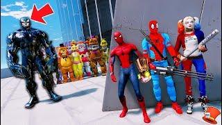 ANIMATRONICS & SPIDERMAN WITH INFINITY GAUNTLET vs GIANT VENOM! (GTA 5 Mods FNAF Kids)