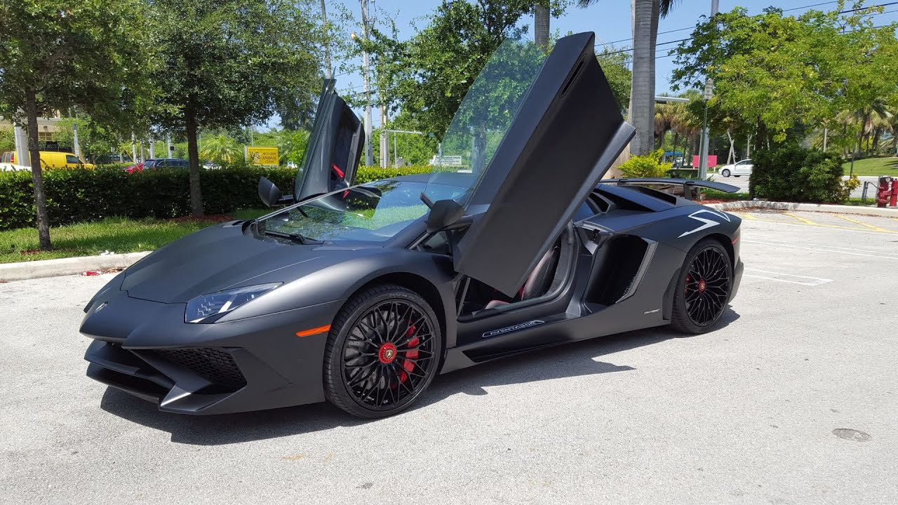 matte black lamborghini aventador sv lp750 4 start up revs. Black Bedroom Furniture Sets. Home Design Ideas