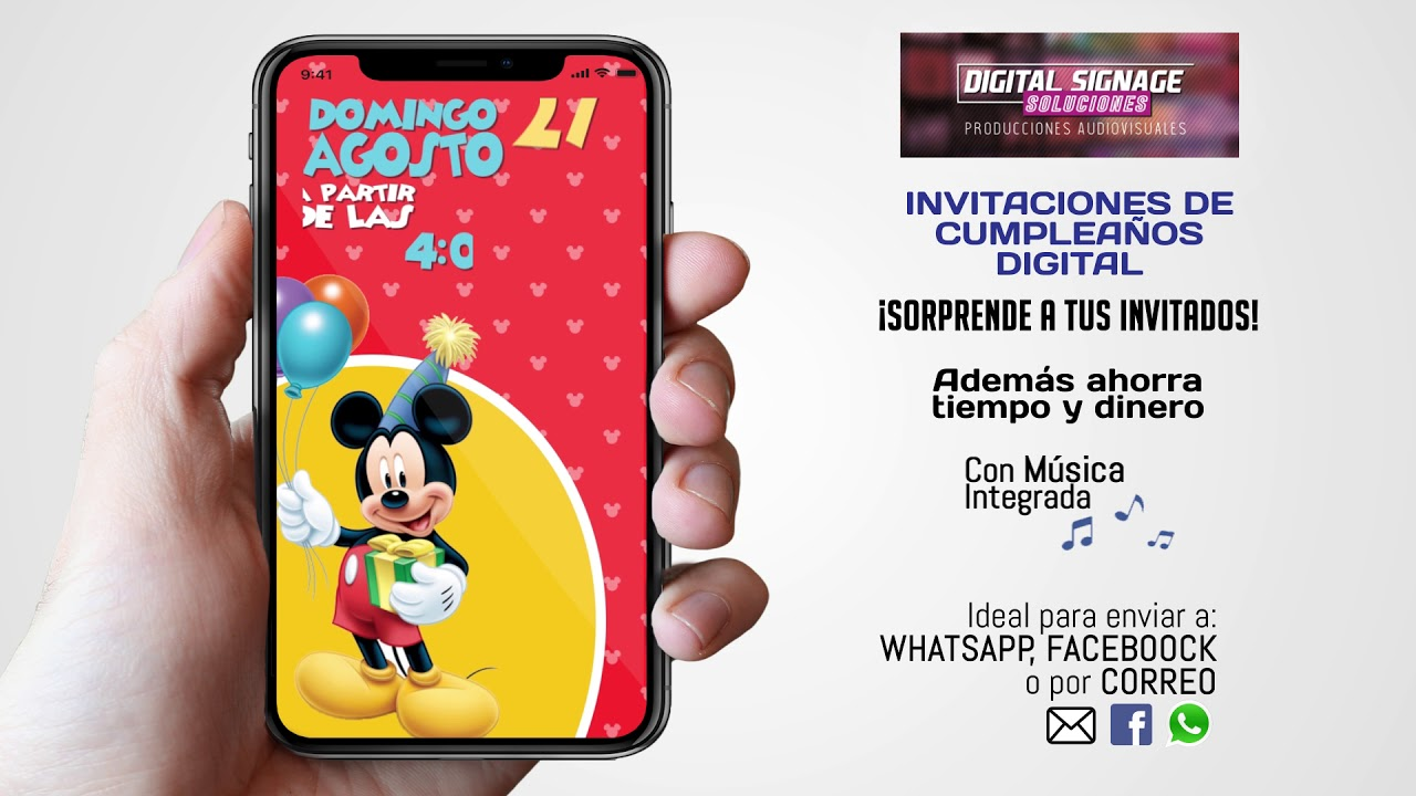 Tarjeta De Invitación Mickey Mouse Para Whatsapp Youtube