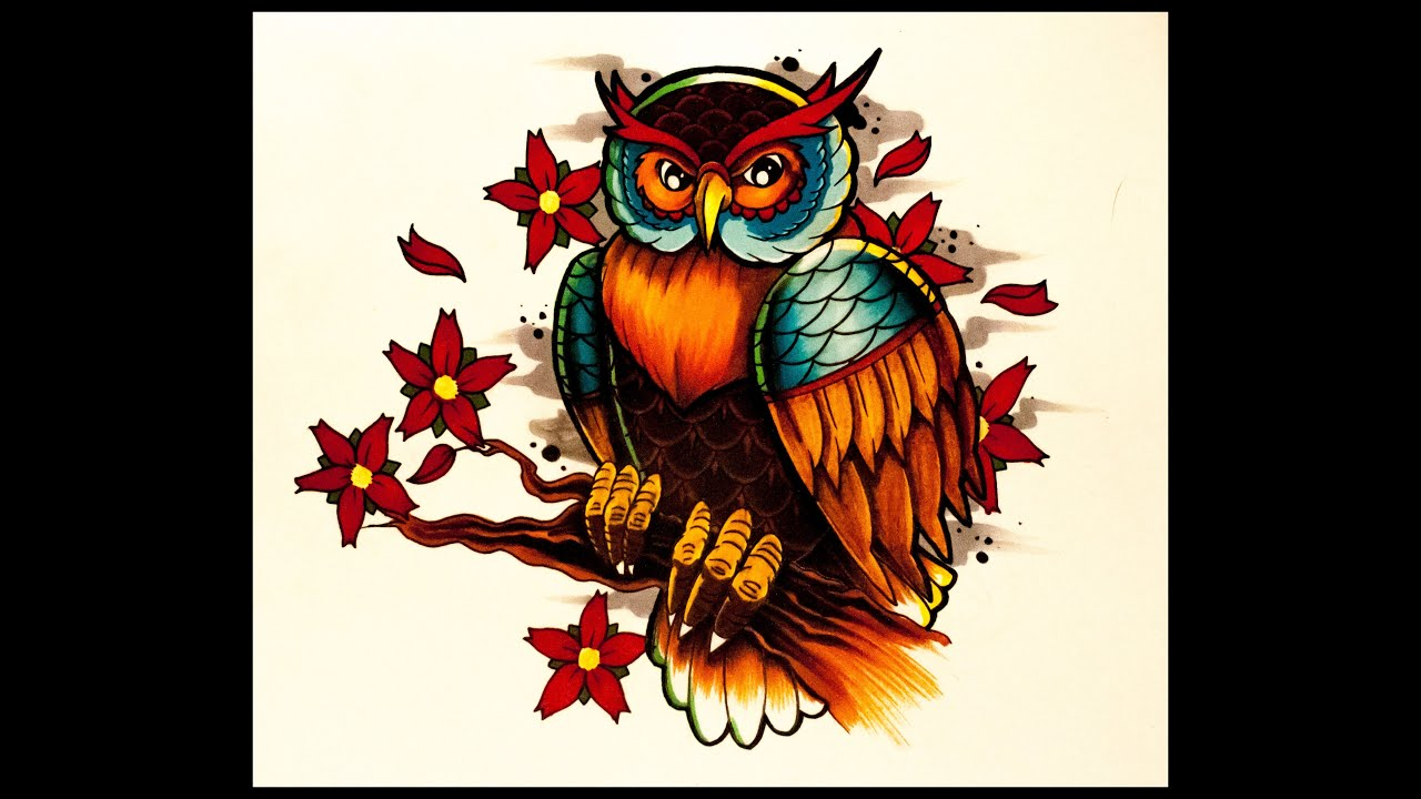 How To Draw An Old School Owl And Cherry Blossoms Tattoo Style By  Thebrokenpuppet  Youtube