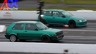 bcf volkswagen golf vs civic turbo vert hb napierville dragway