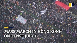 Annual march on Hong Kong handover anniversary diverted amid anti-extradition bill violence