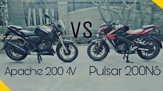 tvs apache rtr 200 4v vs pulsar ns 200   video