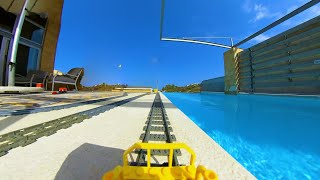Lego train in house garden and pool with VR 360 camera !