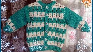 Кофточка с котятами ( крючок) Часть 2 - Crocheted children's jacket