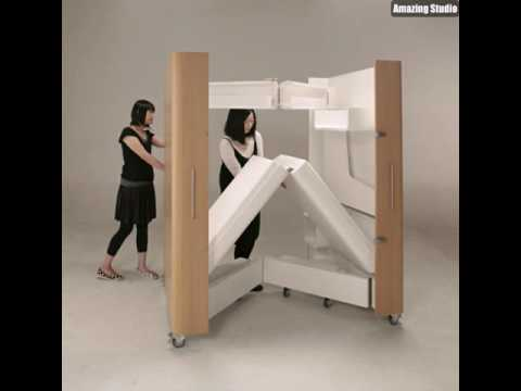 platzsparende m bel rollmodell youtube. Black Bedroom Furniture Sets. Home Design Ideas