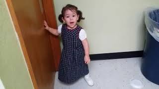 Toddler Surprised by Hand Dryer - 989926