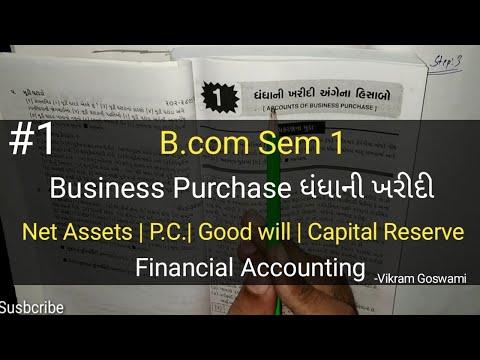 #1 Business Purchase Accounts ધંધાની ખરીદી   B.com Sem 1   Financial Ac   Guj.uni.