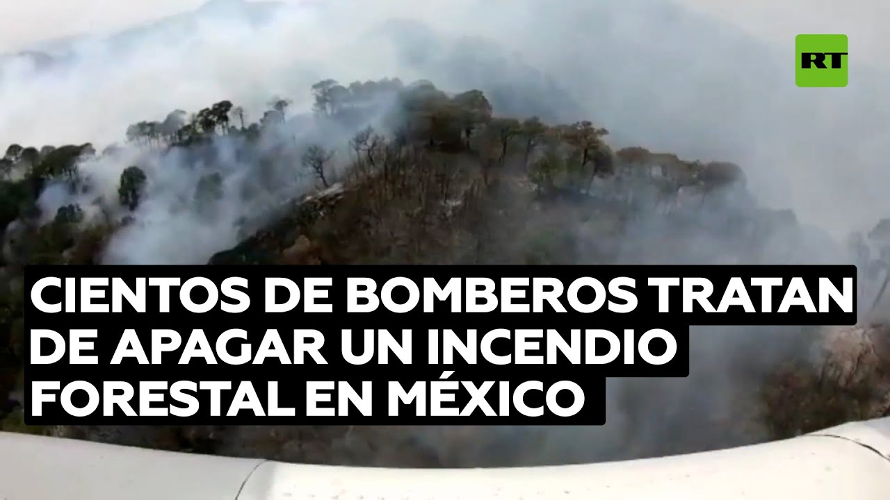 Bomberos luchan en incendio forestal en México