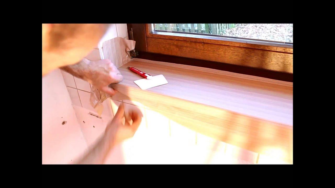 Fensterbanke Mit Holzoptik Holzdekorfolie Trocken Verkleben Youtube