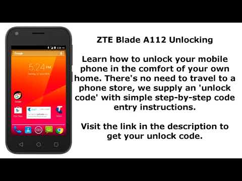 Unlock ZTE Blade A112 - SIM Network Unlock PIN - YouTube