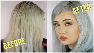 how to tone hair from yellow to light grey