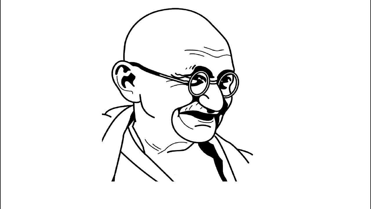 How to draw mahatma gandhi ji face drawing step by step