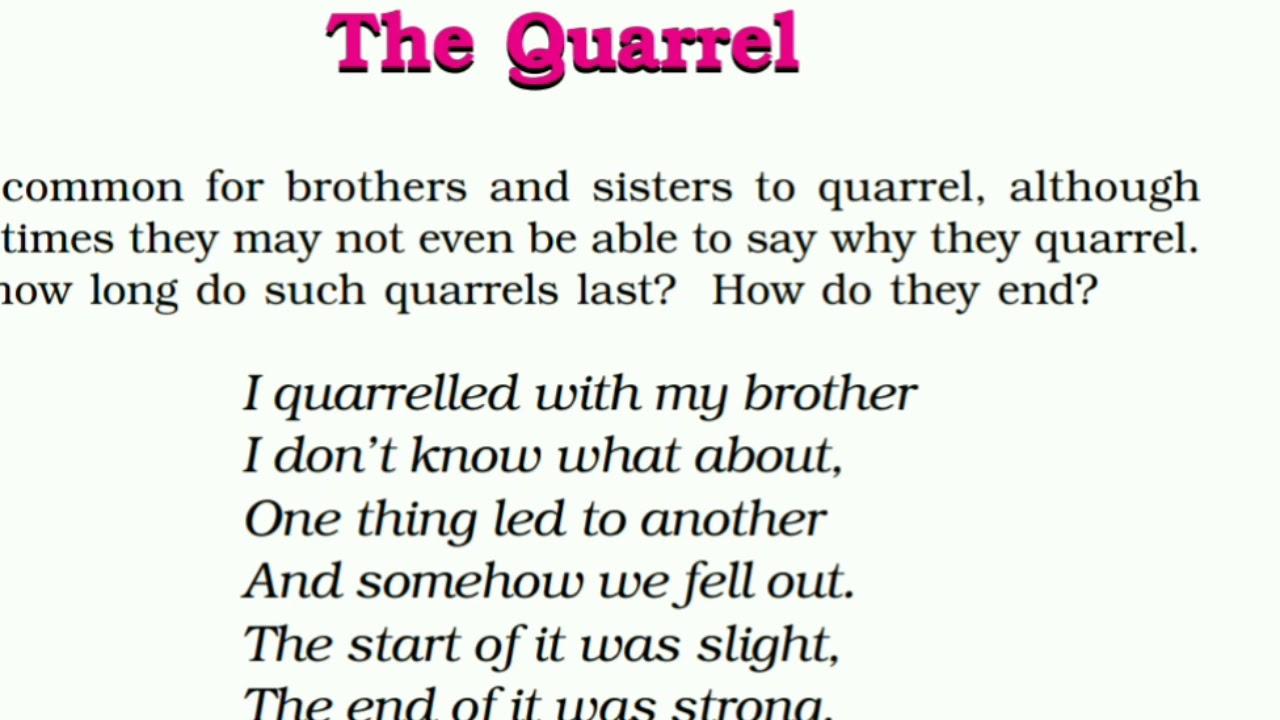 Ncert Class 6 English Honeysuckle The Quarrel Poem Brief