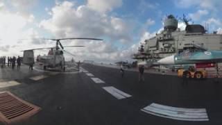 Admiral Kuznetsov 360: Spectacular views aboard Russian aircraft carrier operating off Syria