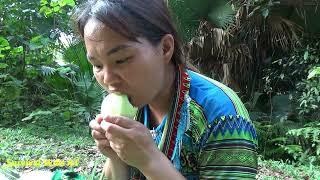 Primitive Life OFF GIRD LIVING - Survival Girl Eating Cucumber Delicious Meet Aboriginal Guy