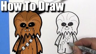 How To Draw a Cute Cartoon Chewbacca - EASY Chibi - Step By Step - Kawaii