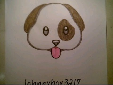 How To Draw Cute Dog Emoji Faces For Kids Cat Beginners Easy Doodle